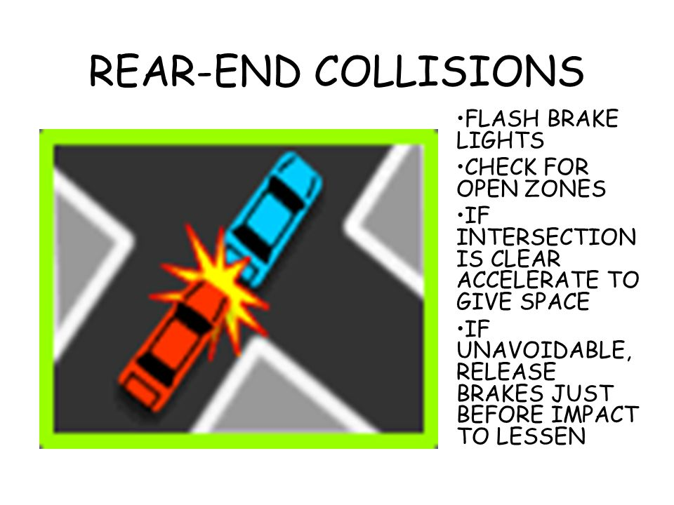 REAR-END COLLISIONS FLASH BRAKE LIGHTS CHECK FOR OPEN ZONES