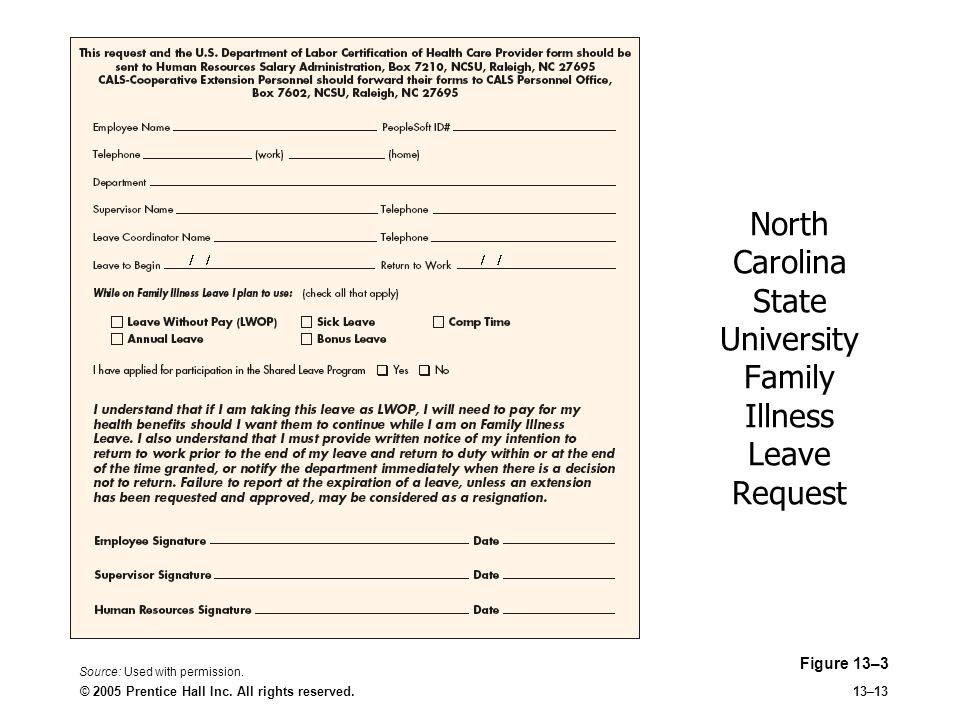 North Carolina State University Family Illness Leave Request