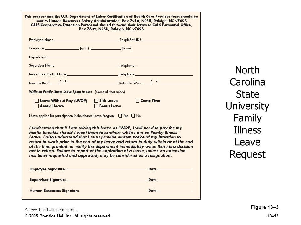 North Carolina State University Family Illness Leave Request