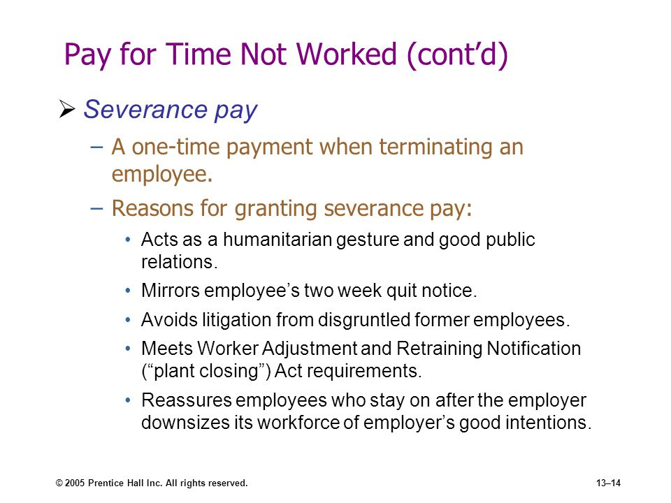 Pay for Time Not Worked (cont'd)