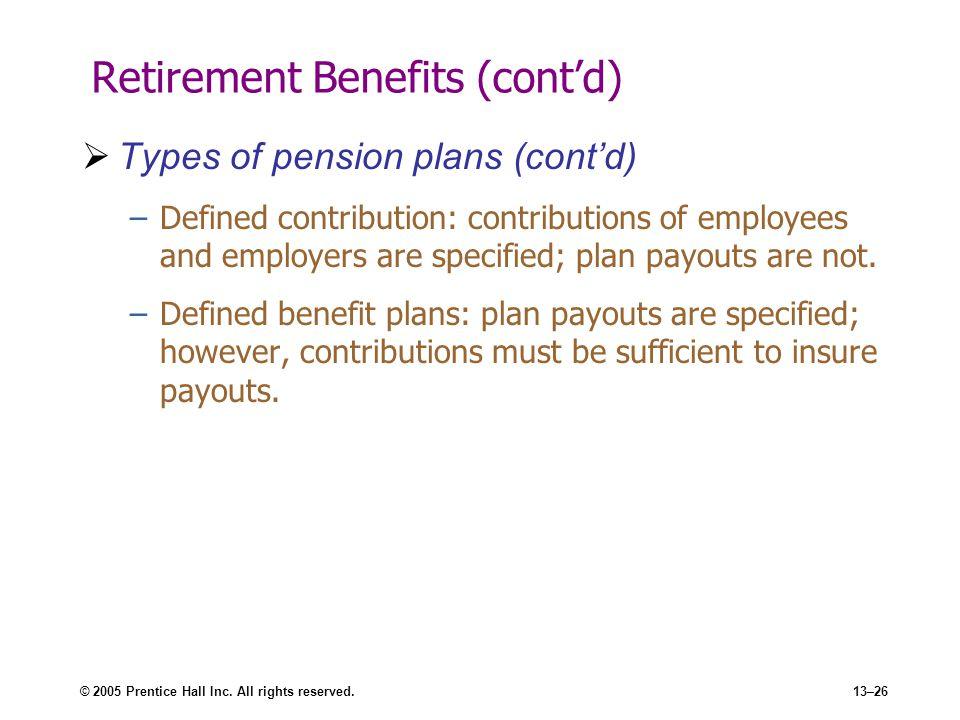 Retirement Benefits (cont'd)