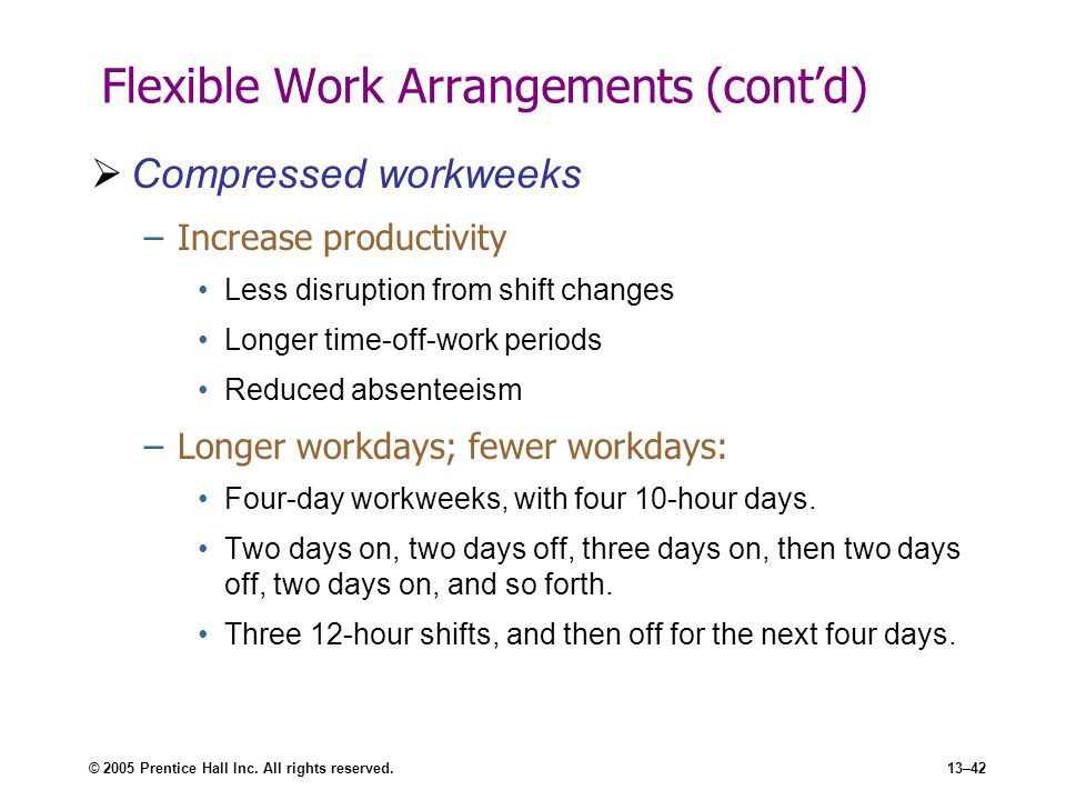 Flexible Work Arrangements (cont'd)