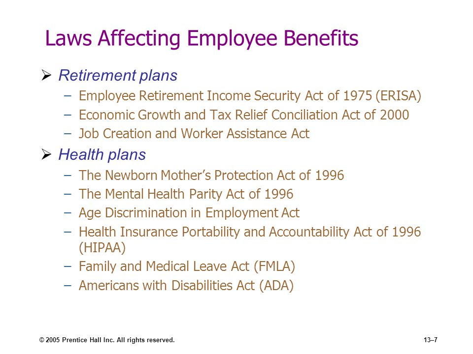 Laws Affecting Employee Benefits