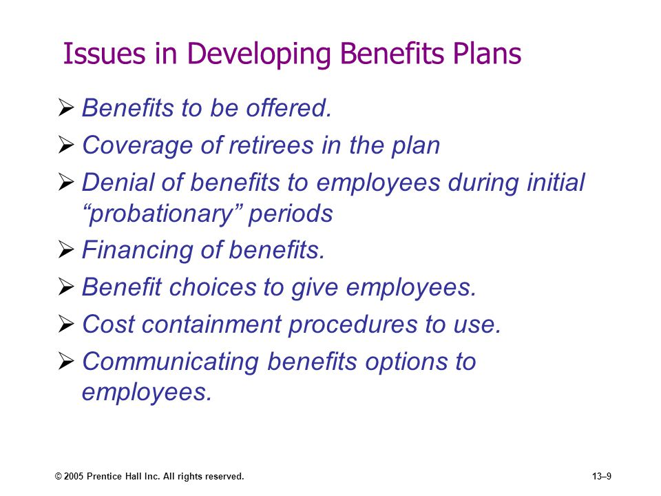 Issues in Developing Benefits Plans