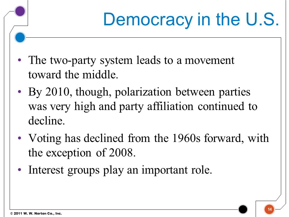 Democracy in the U.S. The two-party system leads to a movement toward the middle.