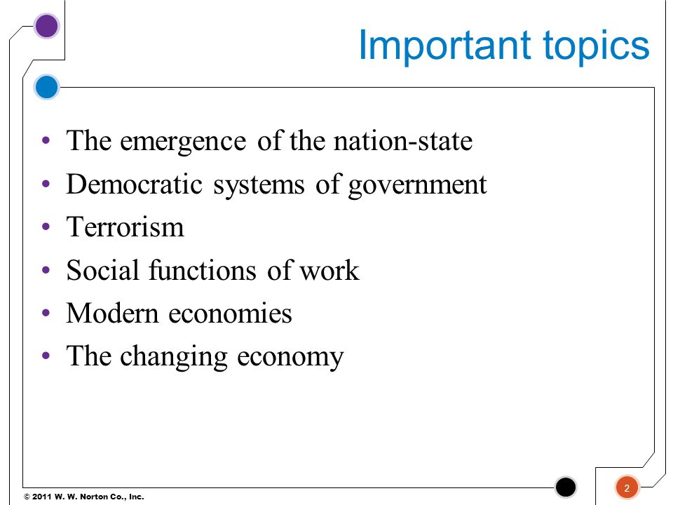 Important topics The emergence of the nation-state