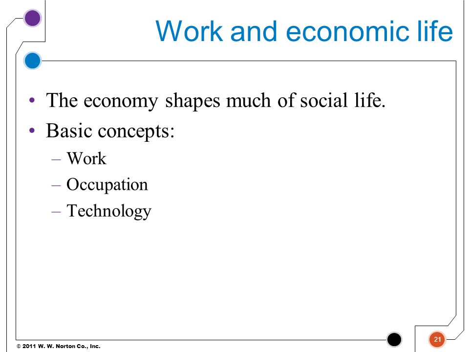 Work and economic life The economy shapes much of social life.