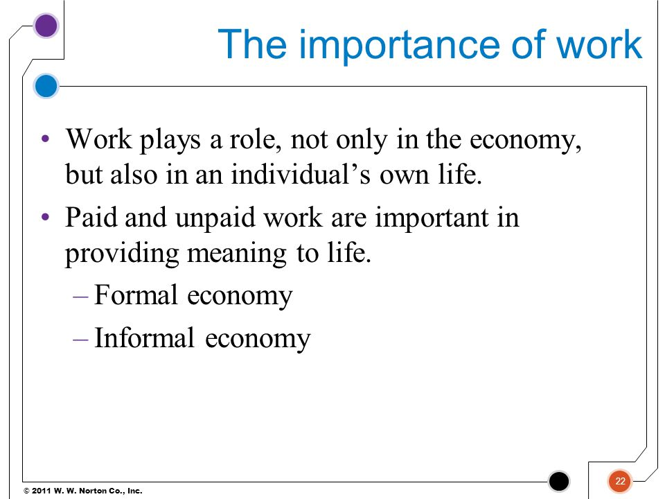 The importance of work Work plays a role, not only in the economy, but also in an individual's own life.
