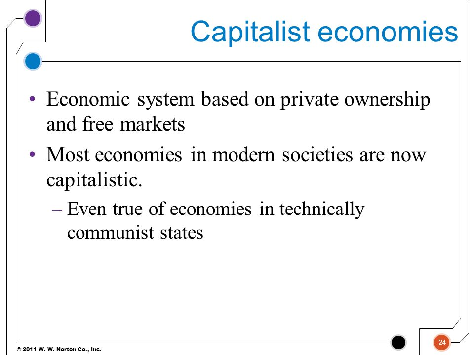 Capitalist economies Economic system based on private ownership and free markets. Most economies in modern societies are now capitalistic.