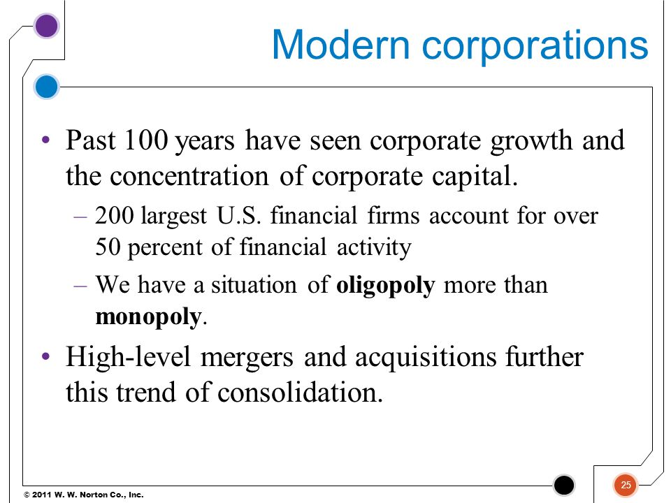 Modern corporations Past 100 years have seen corporate growth and the concentration of corporate capital.
