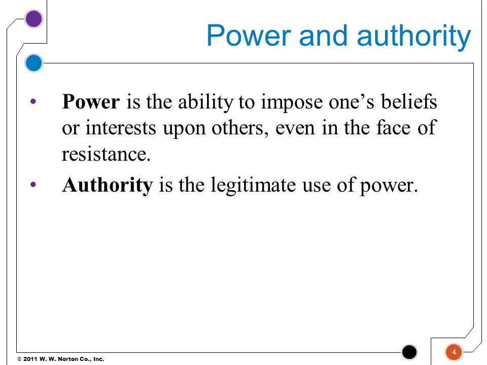 Power and authority Power is the ability to impose one's beliefs or interests upon others, even in the face of resistance.
