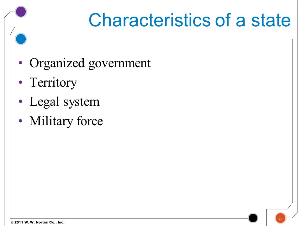 Characteristics of a state