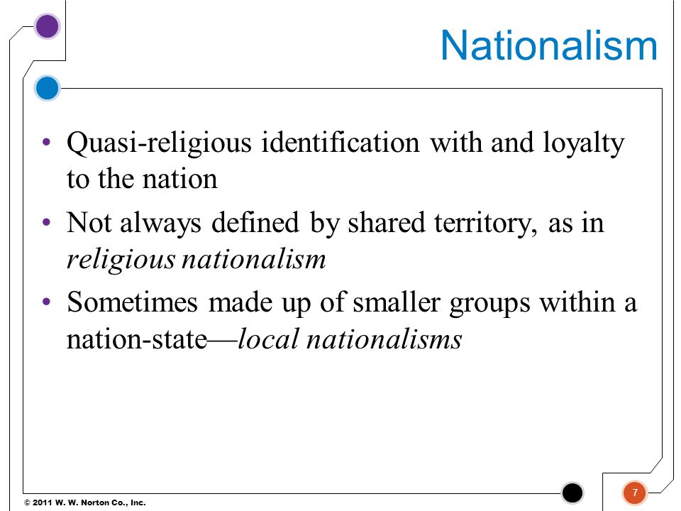 Nationalism Quasi-religious identification with and loyalty to the nation. Not always defined by shared territory, as in religious nationalism.