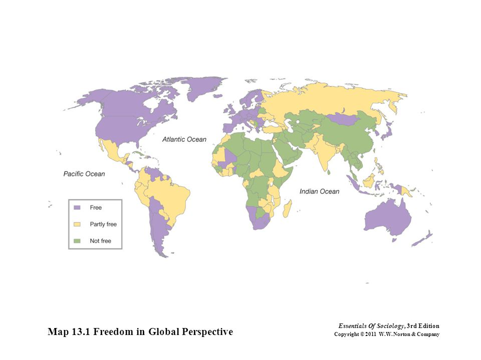 Map 13.1 Freedom in Global Perspective