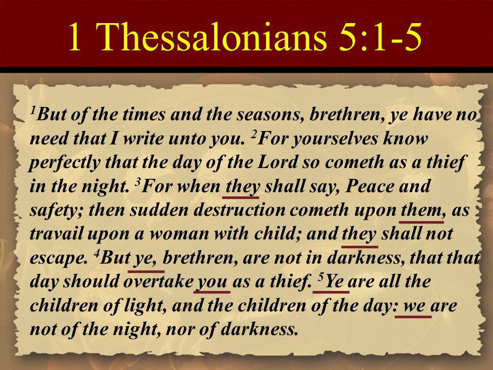 1 Thessalonians 5:1-5