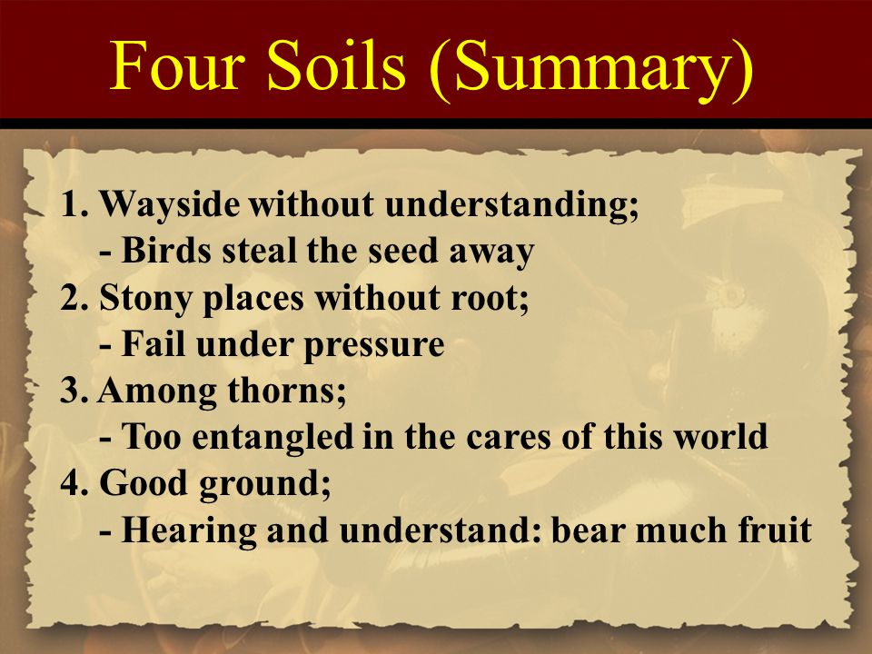 Four Soils (Summary) 1. Wayside without understanding;