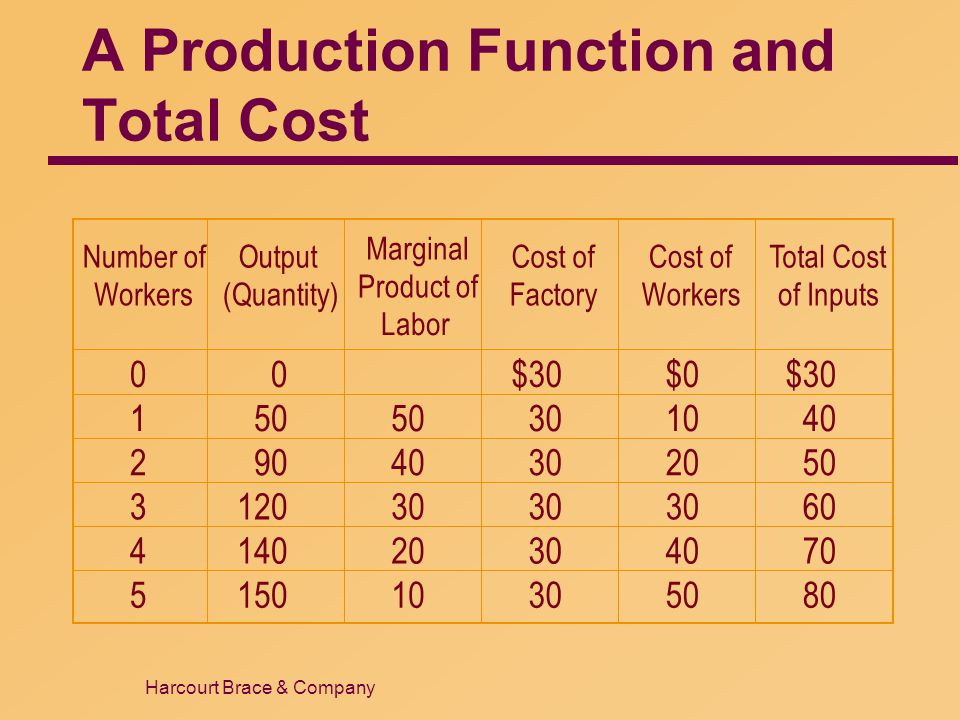 A Production Function and Total Cost