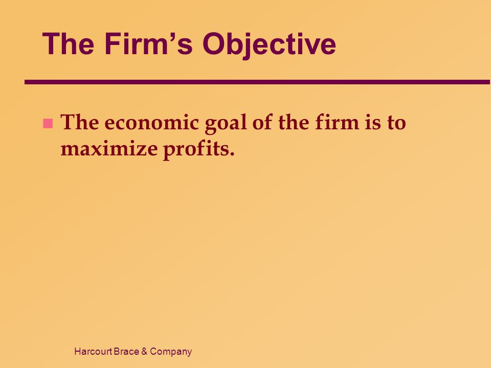 The Firm's Objective The economic goal of the firm is to maximize profits. 4 3