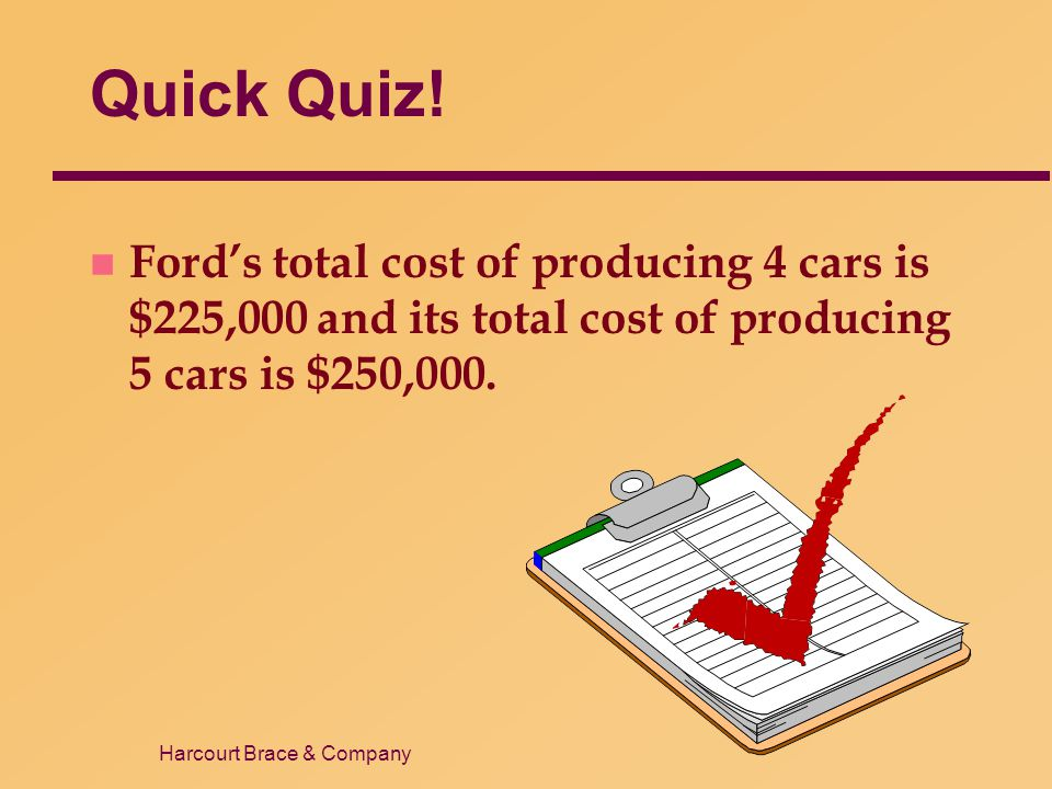 Quick Quiz! Ford's total cost of producing 4 cars is $225,000 and its total cost of producing 5 cars is $250,000.