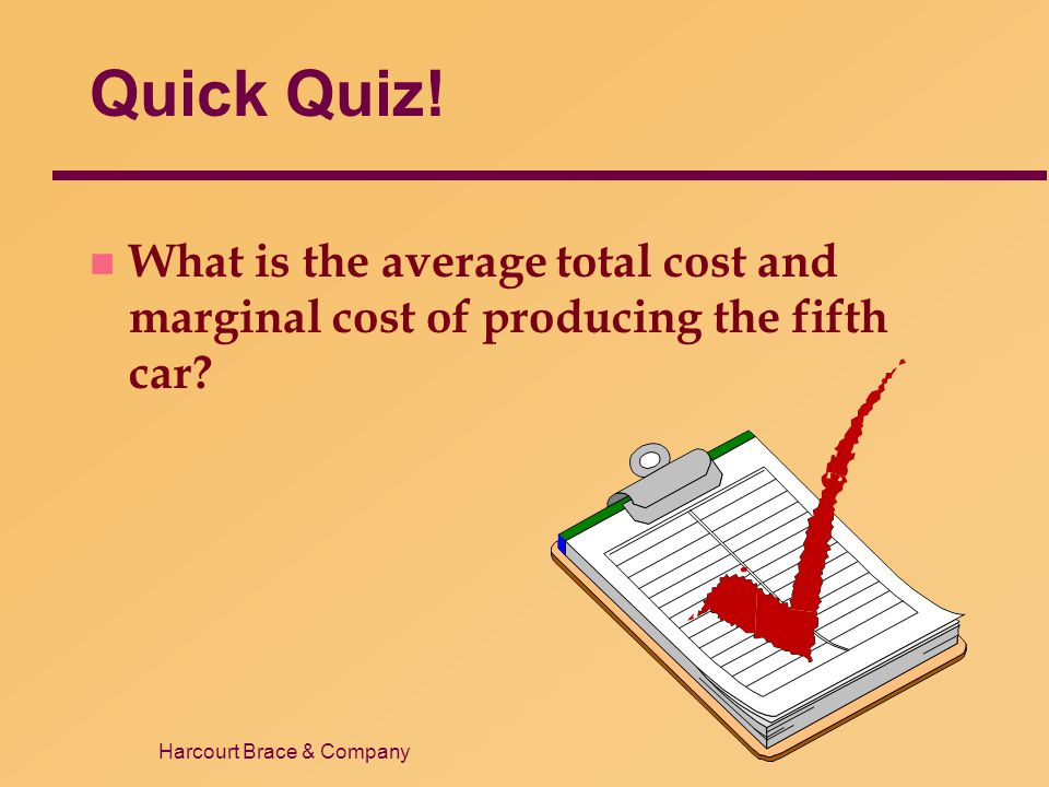 Quick Quiz! What is the average total cost and marginal cost of producing the fifth car 18 41