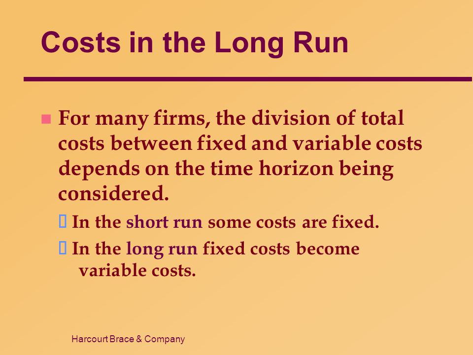 Costs in the Long Run For many firms, the division of total costs between fixed and variable costs depends on the time horizon being considered.