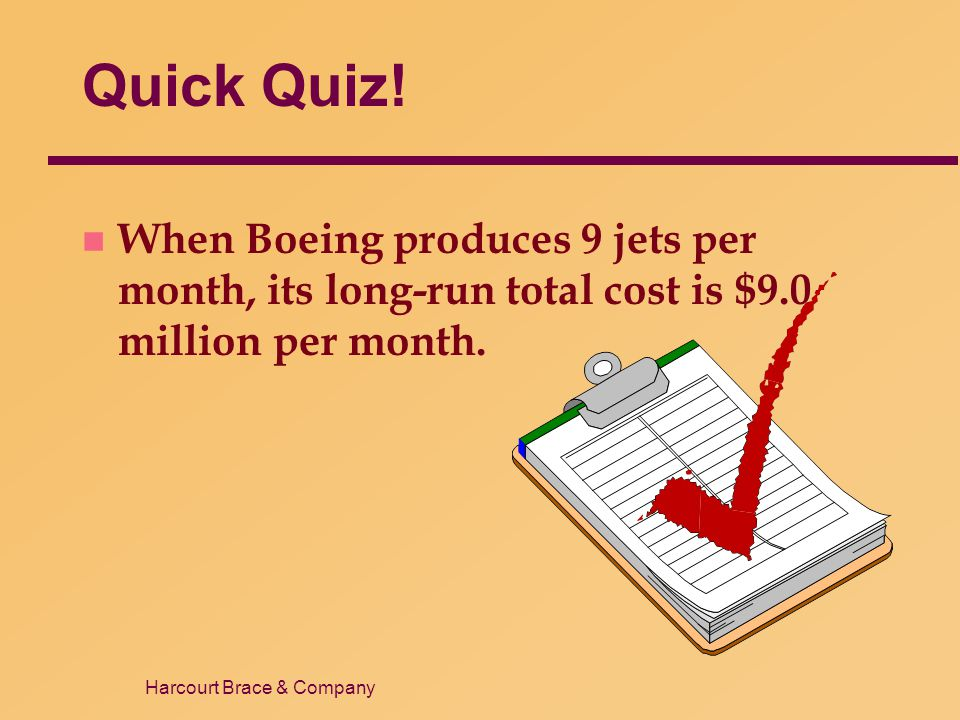 Quick Quiz! When Boeing produces 9 jets per month, its long-run total cost is $9.0 million per month.