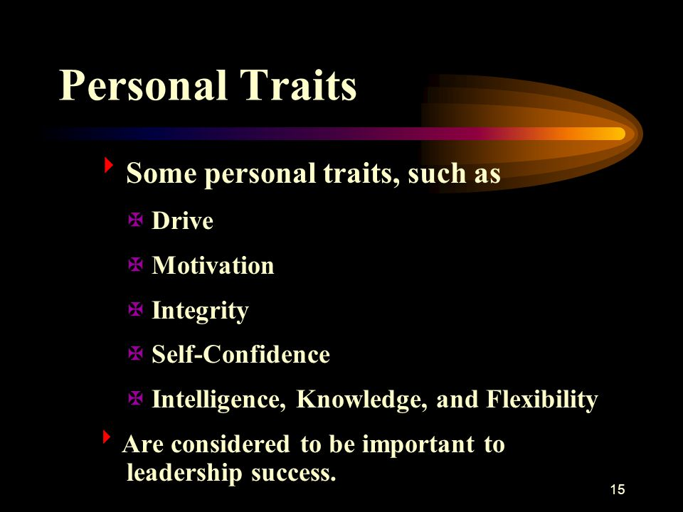 Personal Traits Some personal traits, such as Drive Motivation