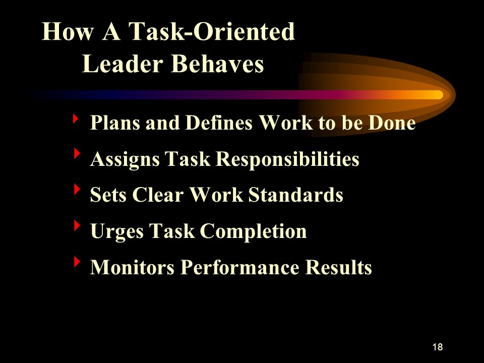 How A Task-Oriented Leader Behaves