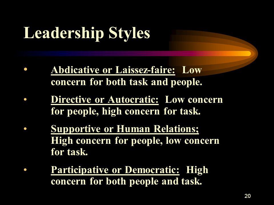 Leadership Styles Abdicative or Laissez-faire: Low concern for both task and people.