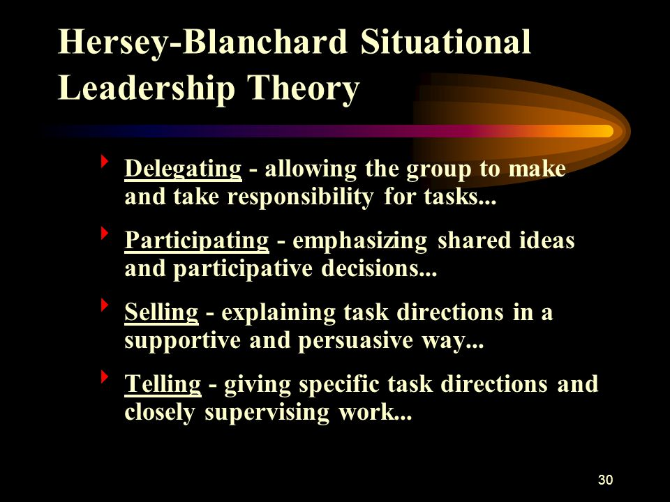 Hersey-Blanchard Situational Leadership Theory