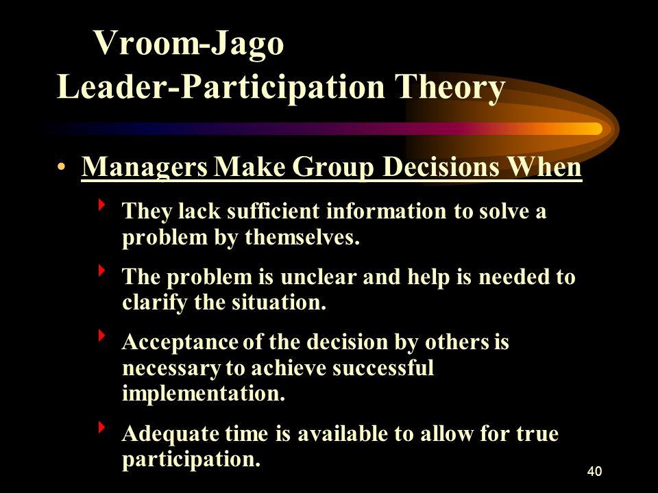 Vroom-Jago Leader-Participation Theory