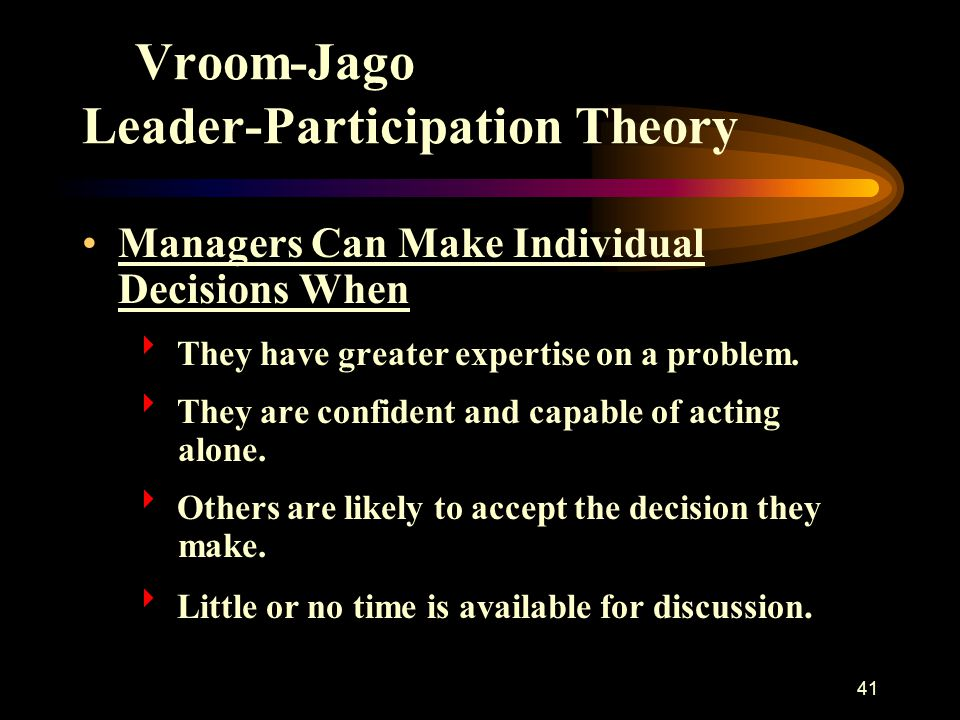 Vroom-Jago Leader-Participation Theory