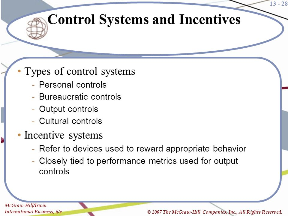 Control Systems and Incentives