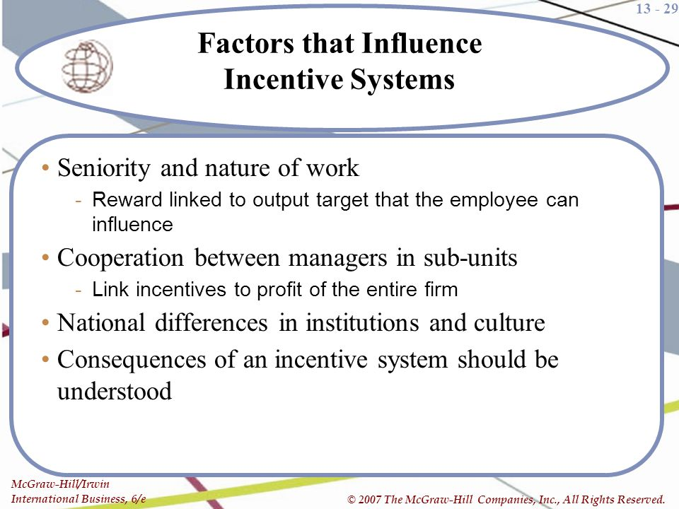 Factors that Influence Incentive Systems