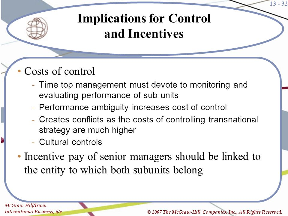 Implications for Control and Incentives