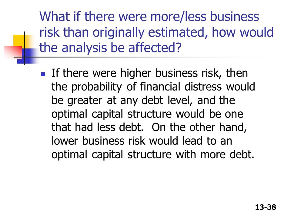 What if there were more/less business risk than originally estimated, how would the analysis be affected