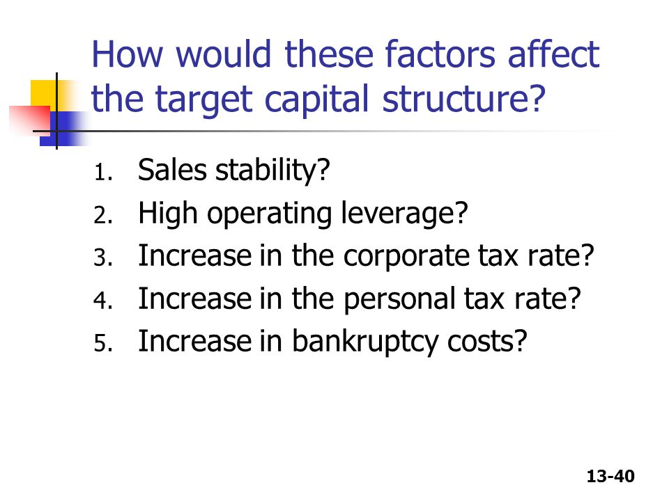 How would these factors affect the target capital structure