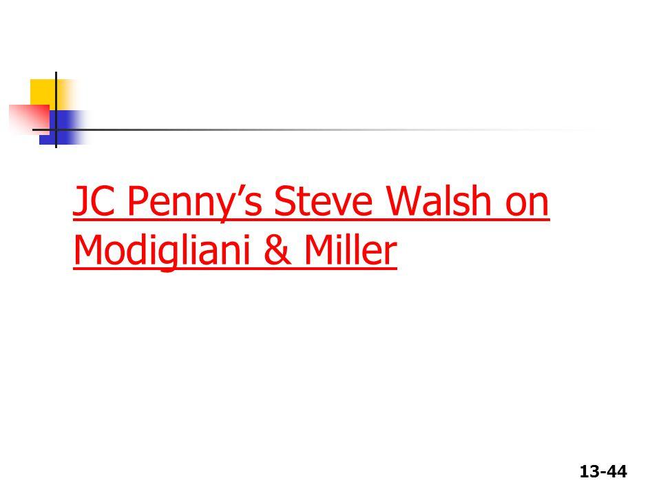 JC Penny's Steve Walsh on Modigliani & Miller