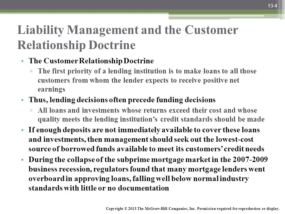 Liability Management and the Customer Relationship Doctrine