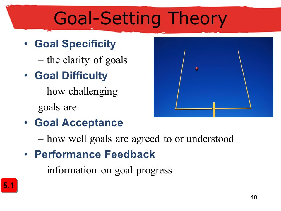Goal-Setting Theory Goal Specificity the clarity of goals