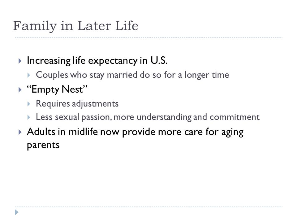 Family in Later Life Increasing life expectancy in U.S. Empty Nest
