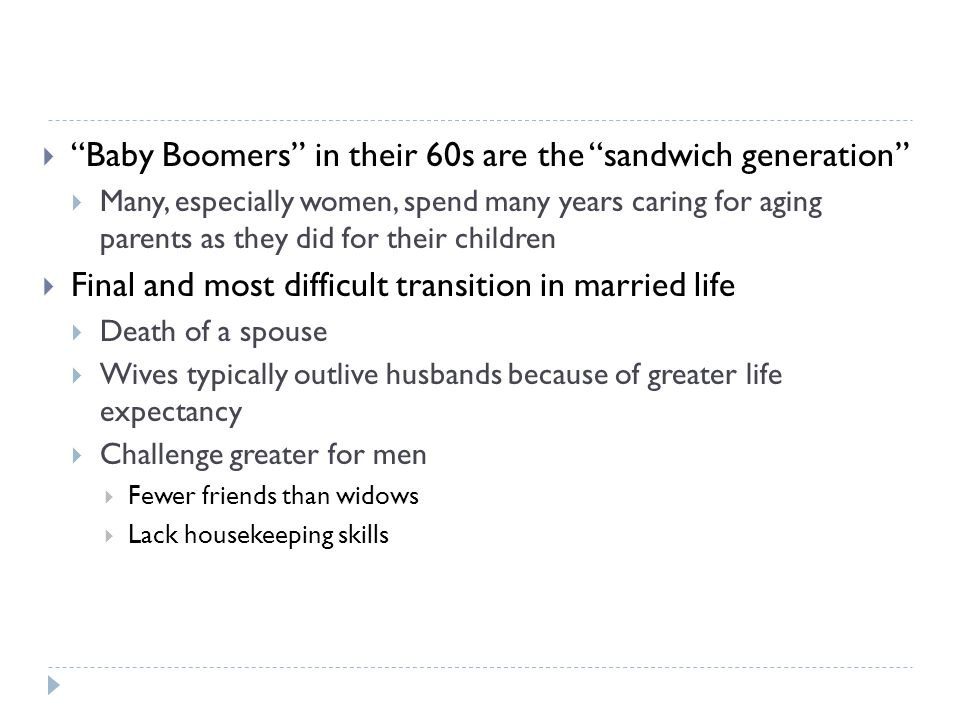 Baby Boomers in their 60s are the sandwich generation
