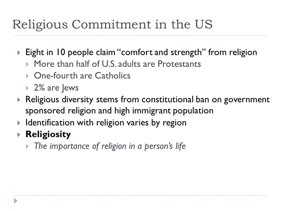 Religious Commitment in the US