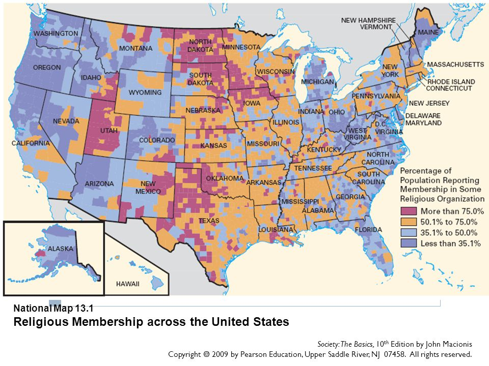 National Map 13.1 Religious Membership across the United States