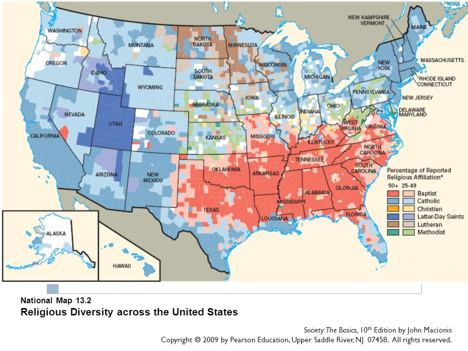 National Map 13.2 Religious Diversity across the United States