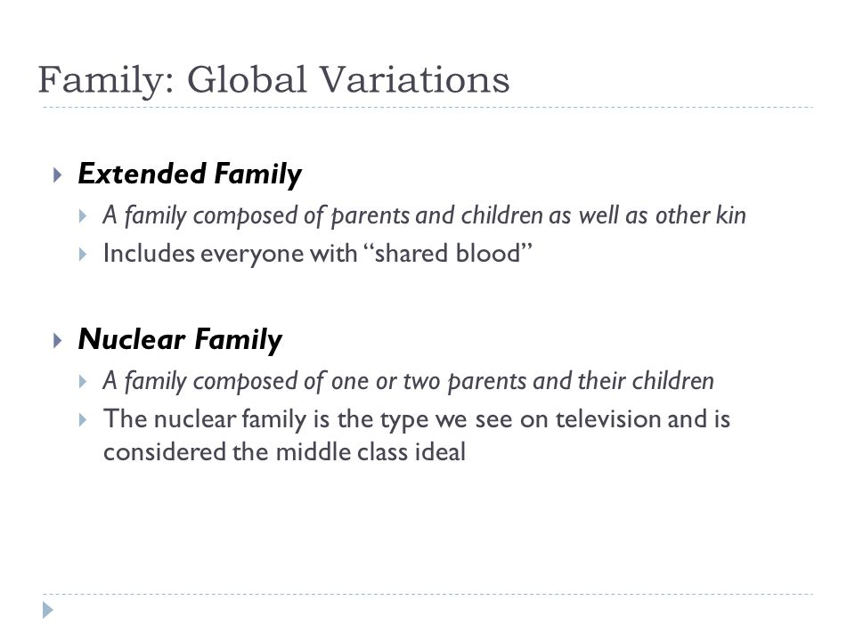 Family: Global Variations