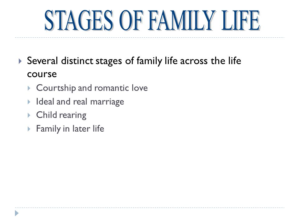 STAGES OF FAMILY LIFE Several distinct stages of family life across the life course. Courtship and romantic love.