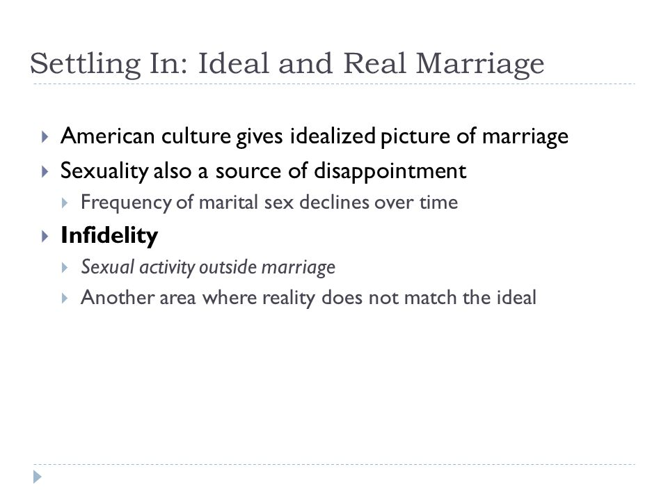 Settling In: Ideal and Real Marriage