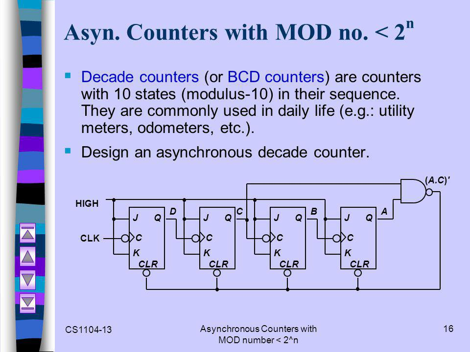 Asyn. Counters with MOD no. < 2n