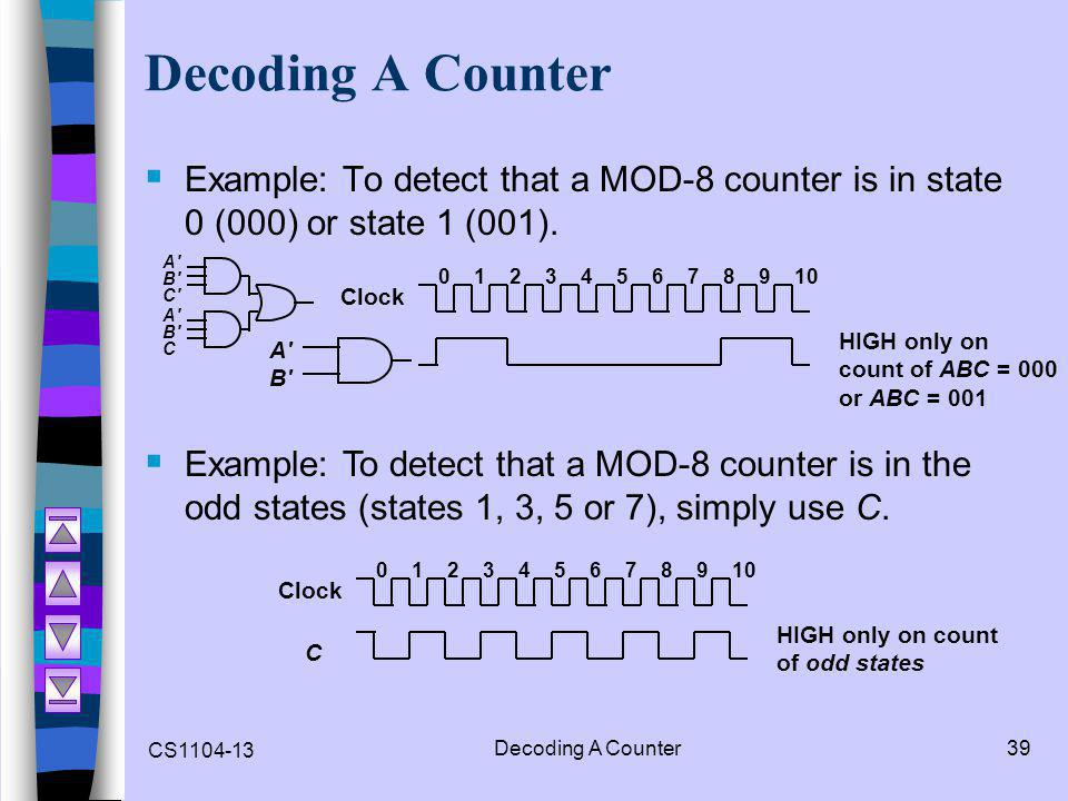 Decoding A Counter Example: To detect that a MOD-8 counter is in state 0 (000) or state 1 (001). A